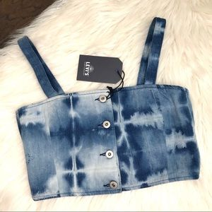 NWT Levi's denim bleached crop top small 2
